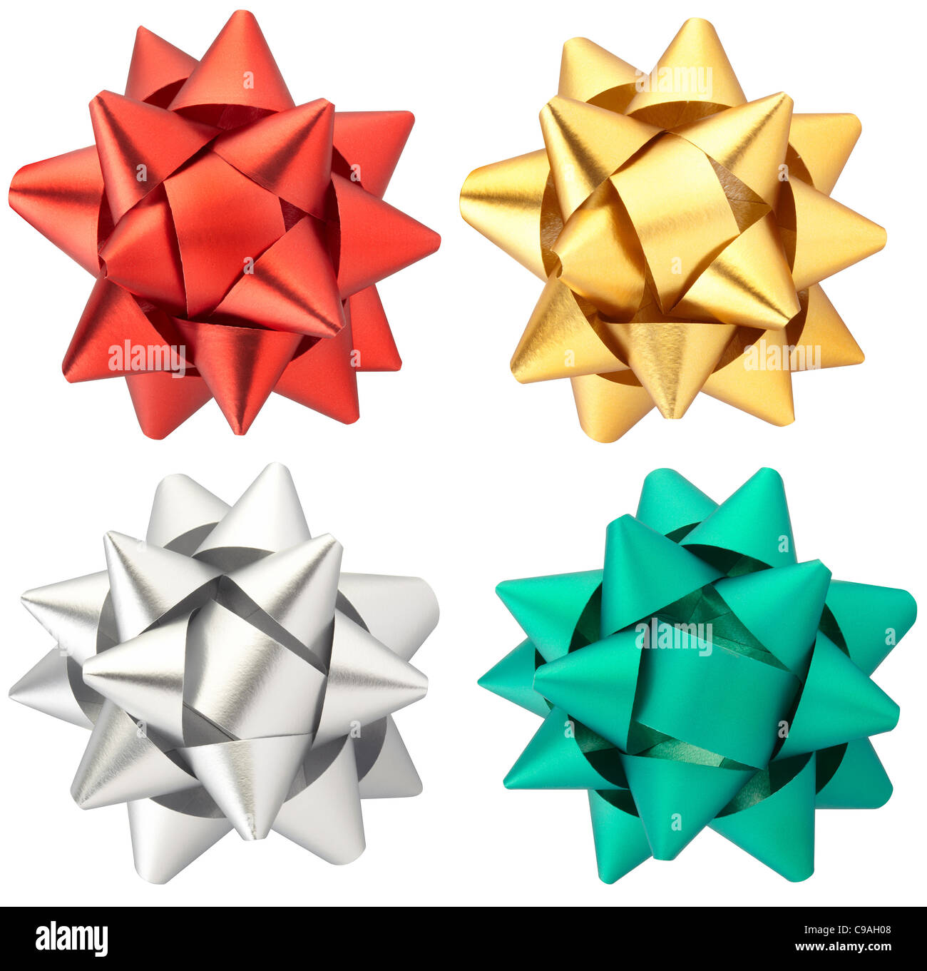Christmas bow collection isolated - Stock Image