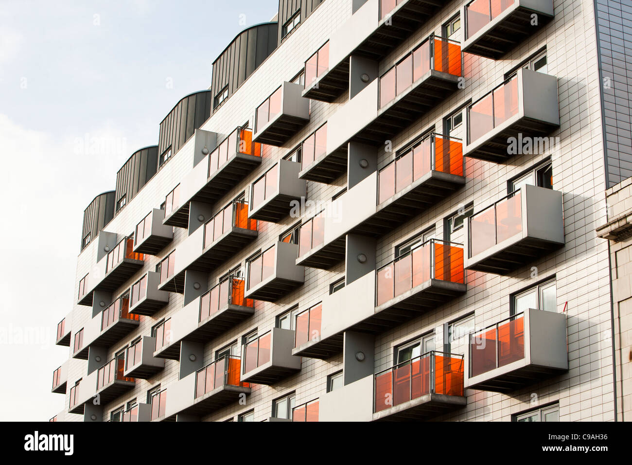 A modern apartment block in Manchester city centre, UK. - Stock Image