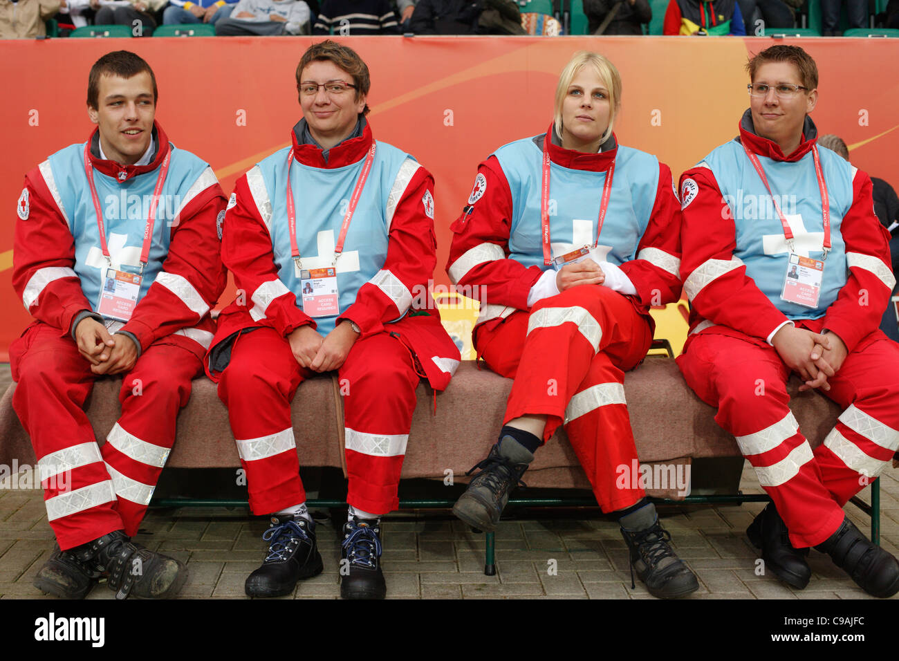 Emergency medical technicians sit on the sidelines at a FIFA Women's World Cup Group C match between Brazil - Stock Image