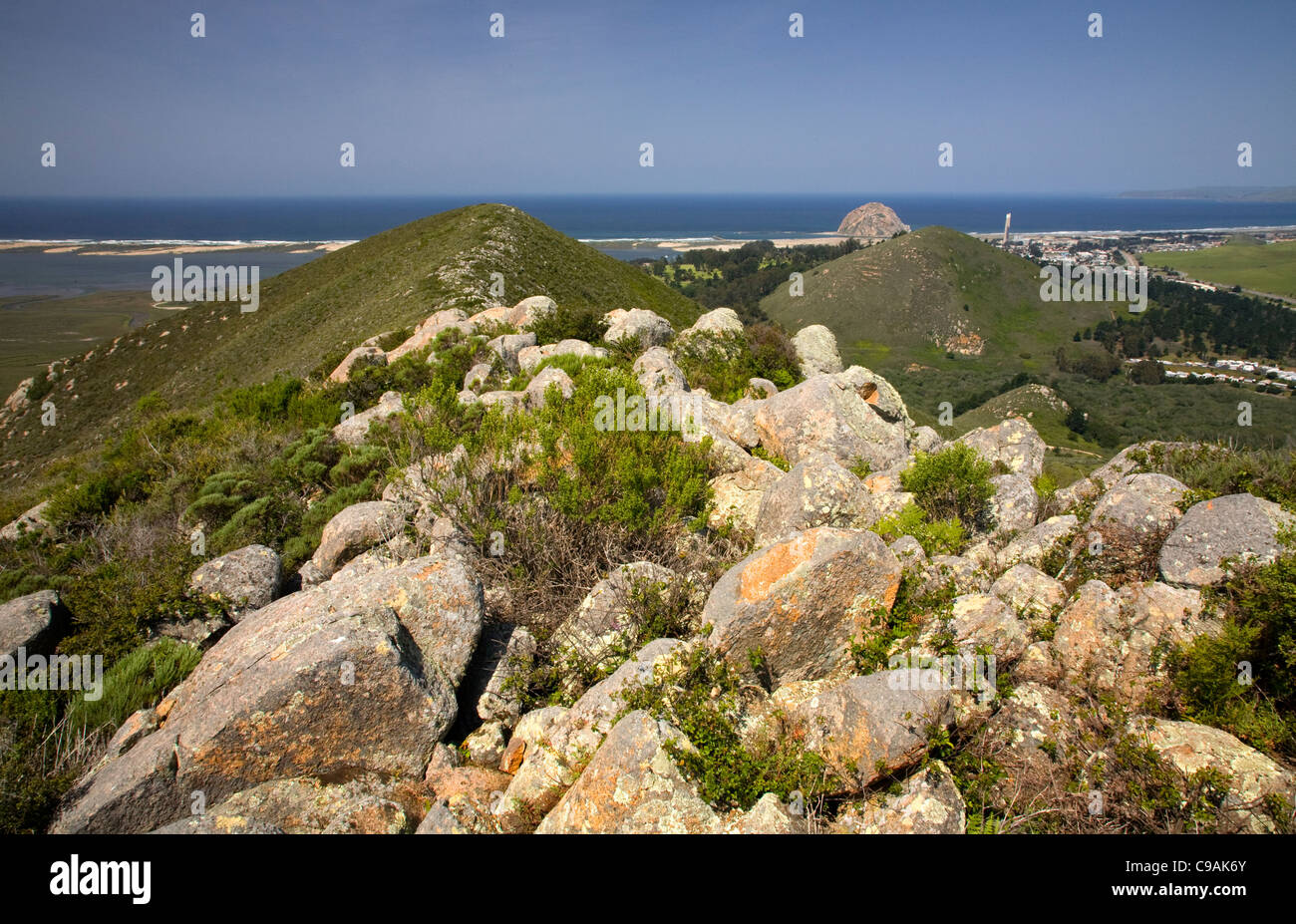 Black Hill and Morro Rock from Cerre Cabrillo, three of the chain of Nine Sisters, all volcanic plugs. - Stock Image