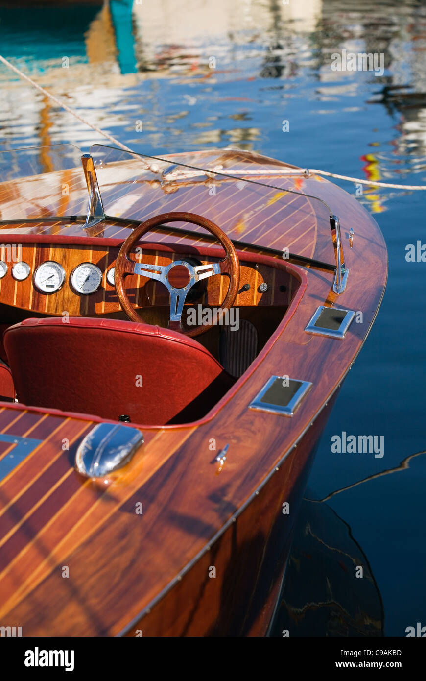 A Wooden Motorboat On Show During The Bi Annual Wooden Boat Festival