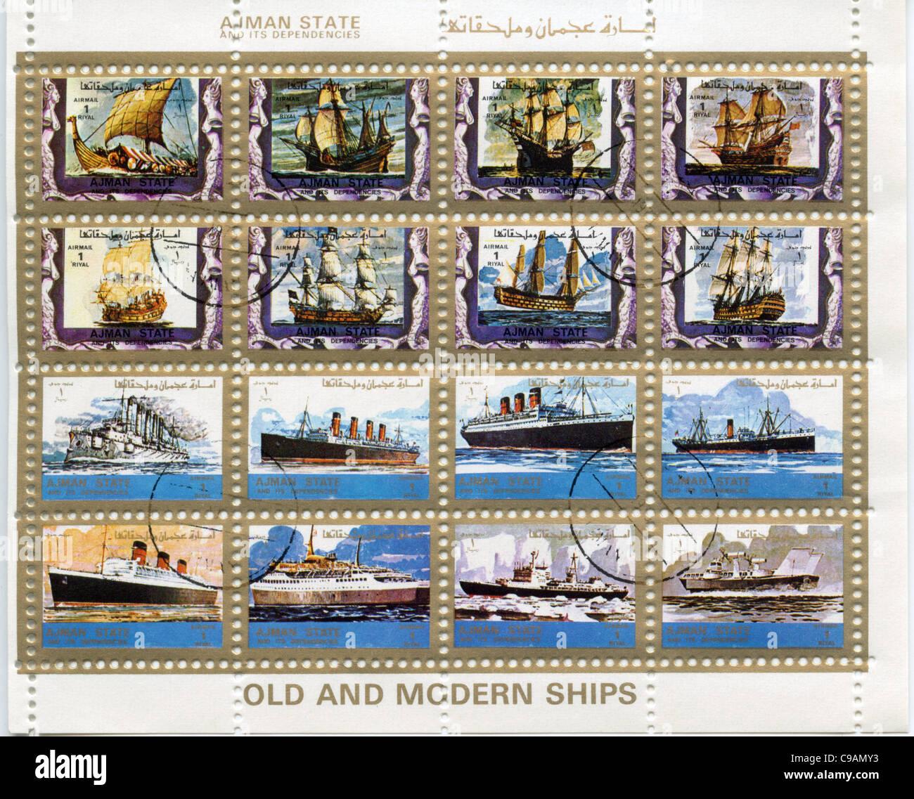 Ajman State postage stamps - Stock Image