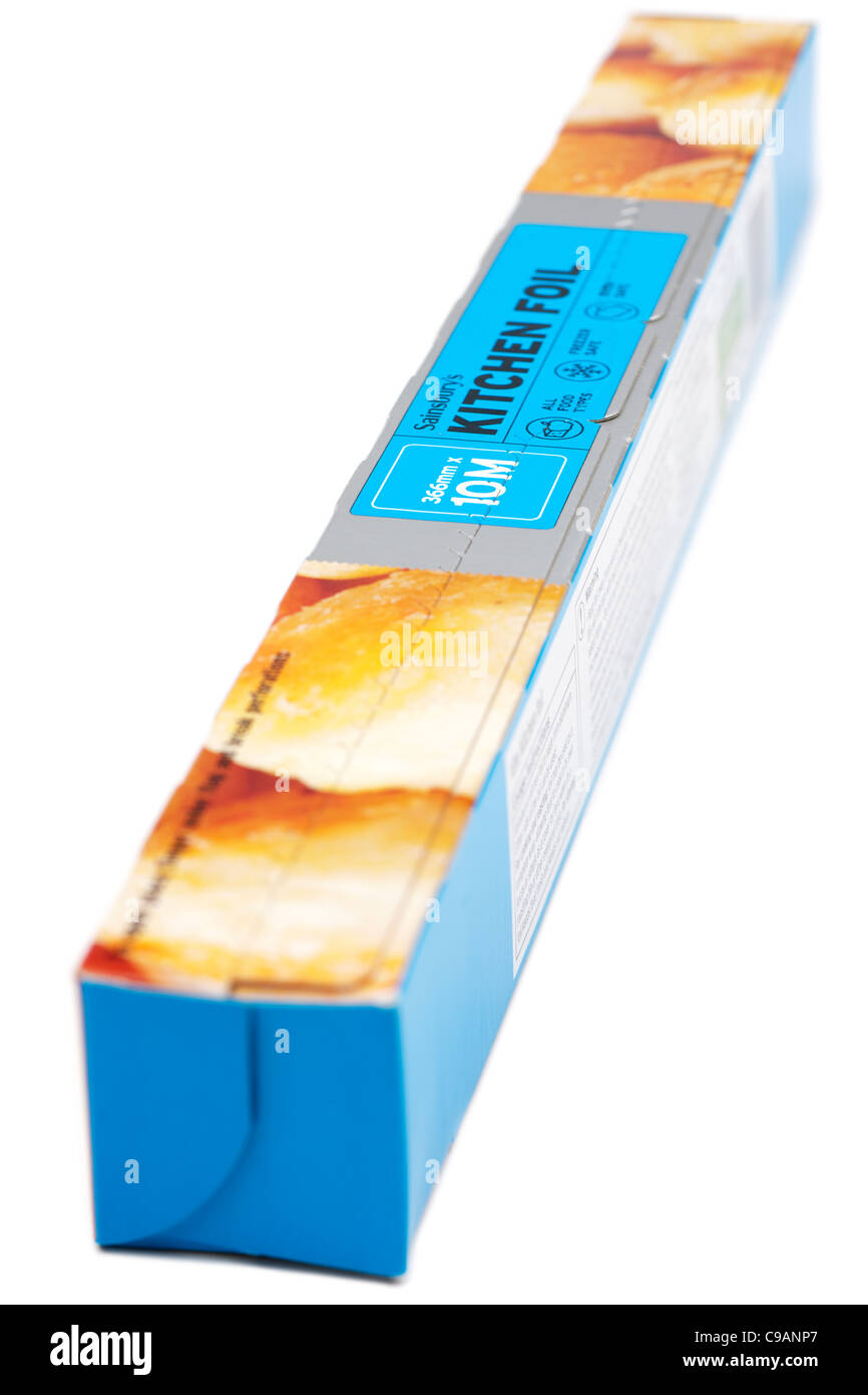 Ten meter box  of 366mm wide Sainsburys kitchen foil - Stock Image