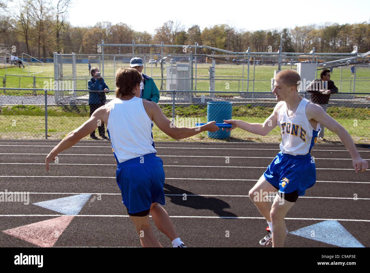 High school track relay race in Waldorf , Maryland - Stock Image