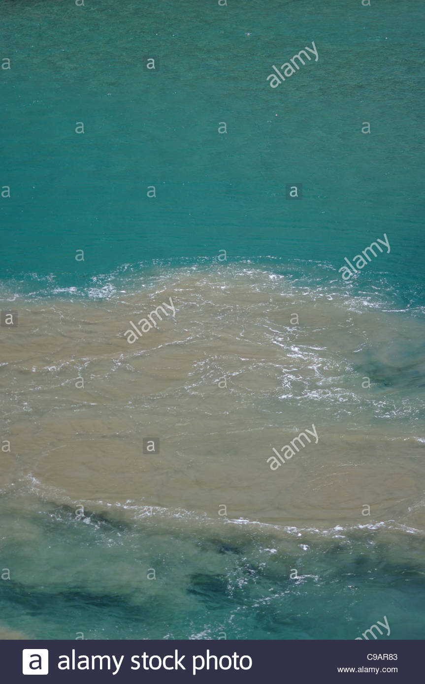 Water turbulence disturbance OCEAN CURRENT WAKE RIPPLES MEDITERRANEAN SEA - Stock Image