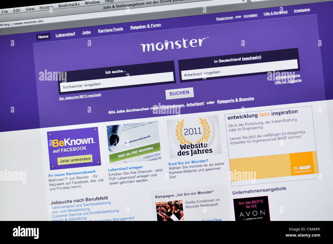 Monster job search website - German Stock Photo: 40190827 - Alamy