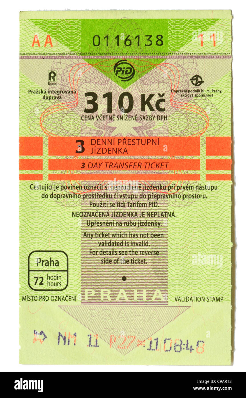 Prague public transport tickets, valid on metro, trams and busses. 3 day ticket - 310 Kc crowns (Price correct winter - Stock Image