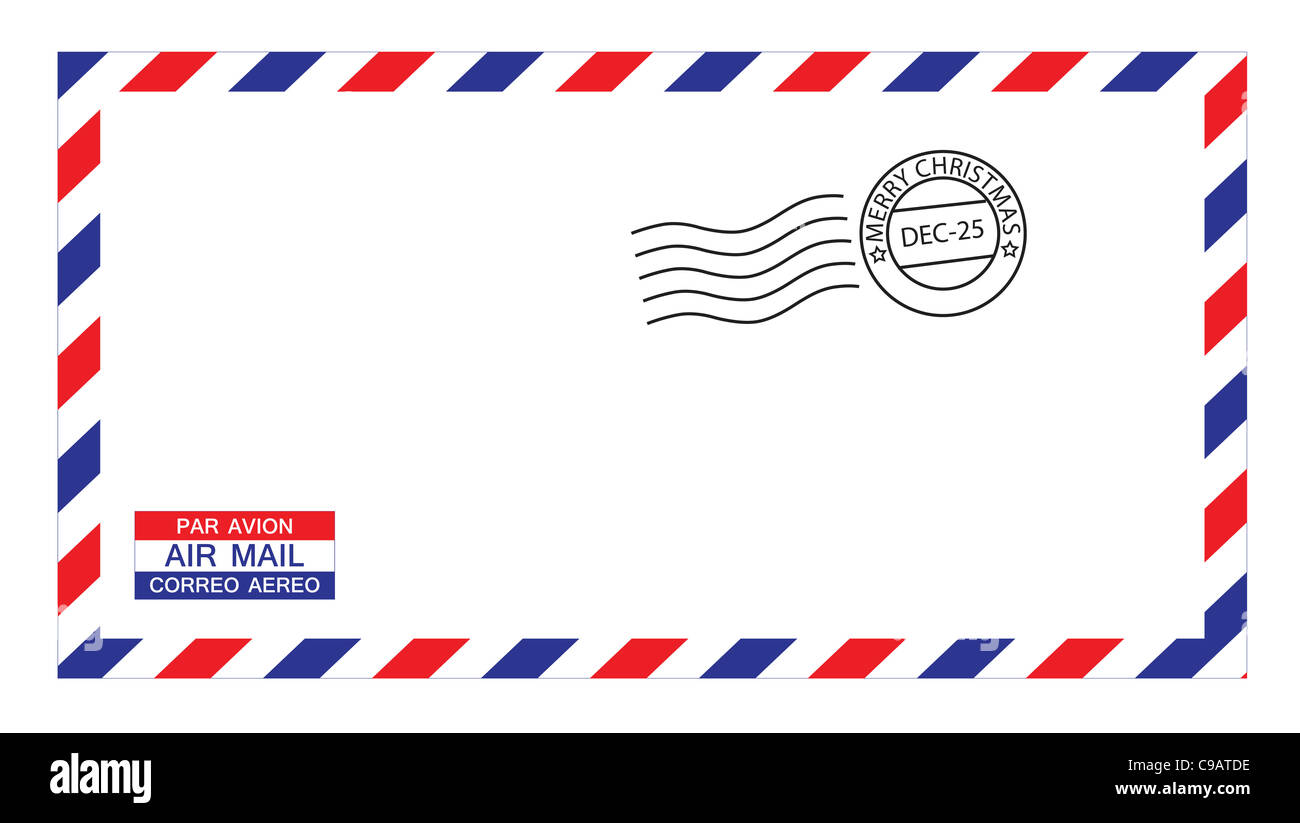 illustrations of airmail envelope with christmas postmark, put your own stamp. - Stock Image
