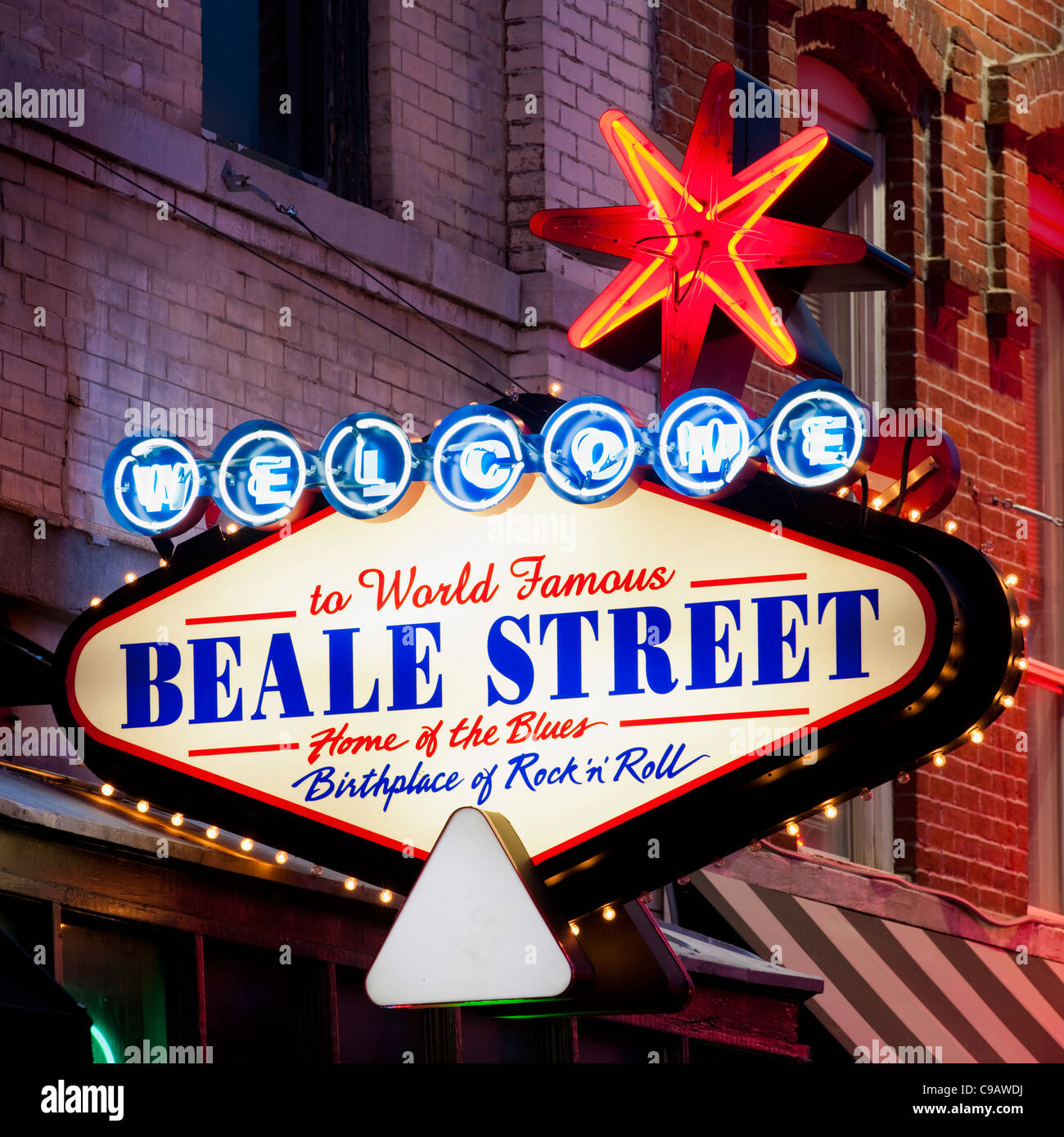 Welcome Beale Street Neon Sign Memphis - Stock Image