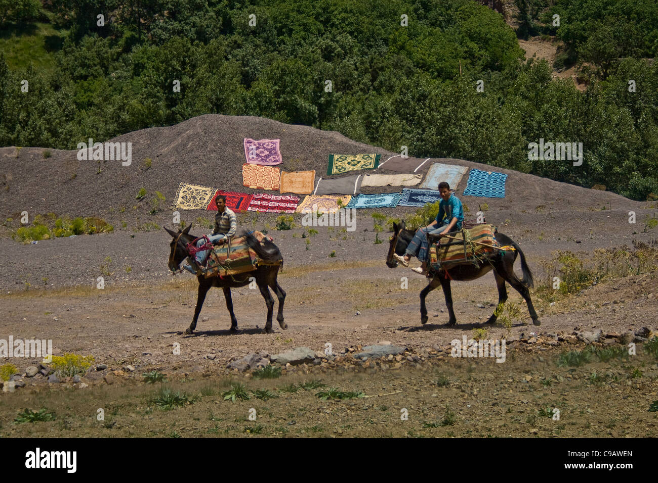 Two Moroccan Berber Men on horses in the High Atlas Mountains Marrakech Morocco North Africa - Stock Image