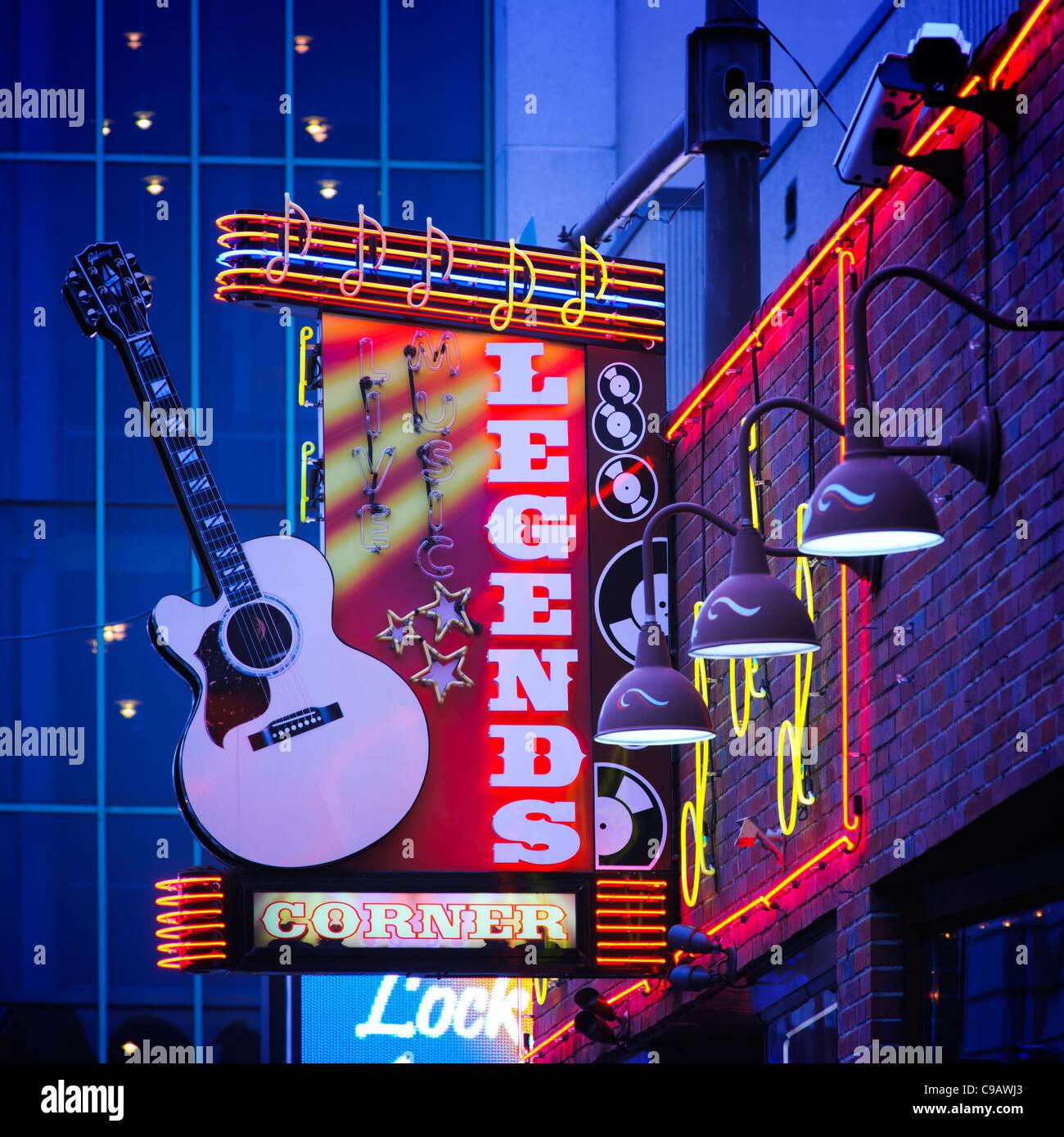 Legends Corner Live music venue Lower Broadway Nashville - Stock Image