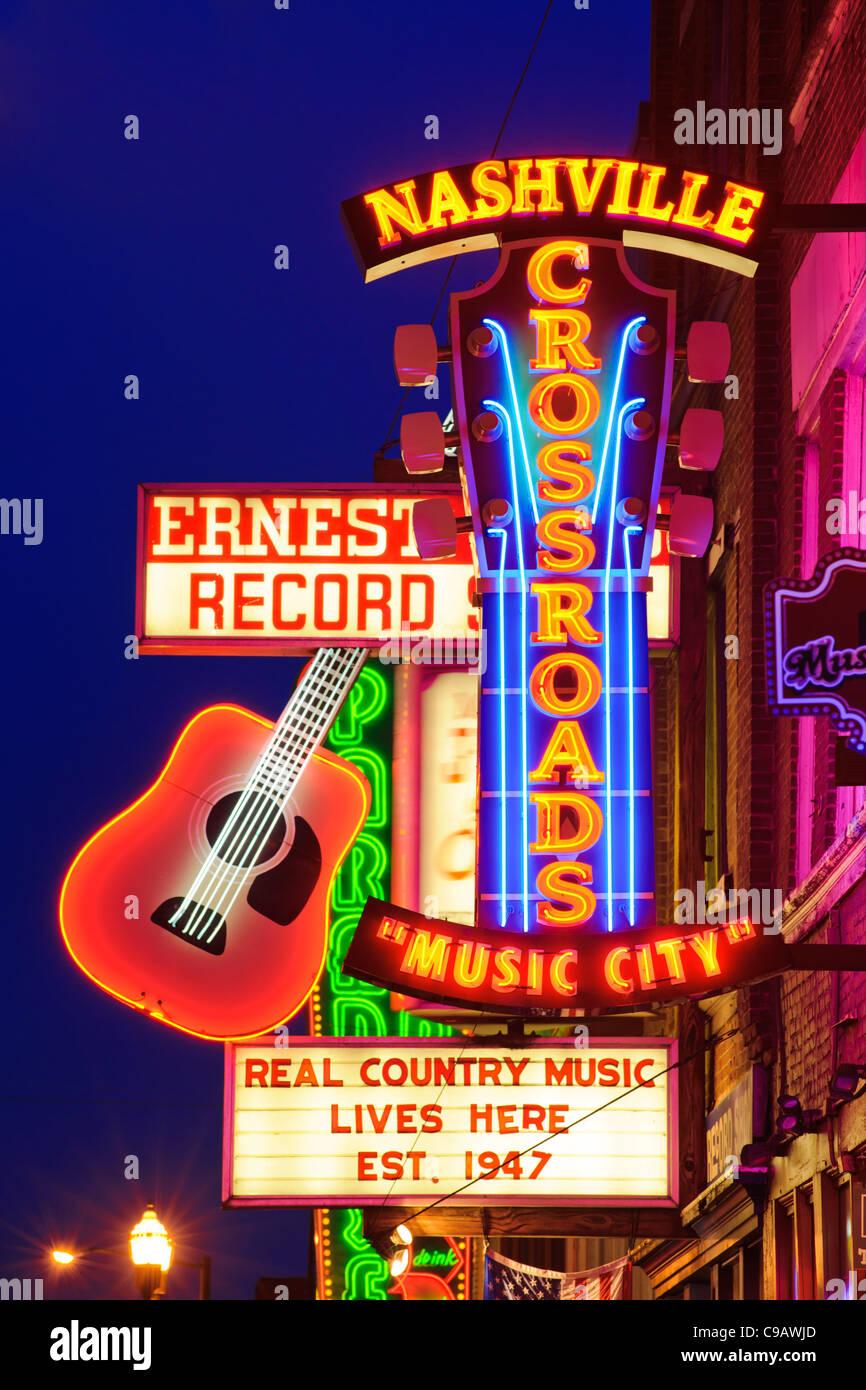 Crossroads Live music venue Lower Broadway Nashville - Stock Image