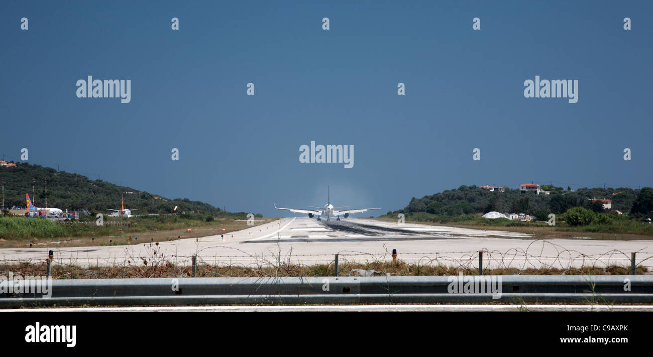 Plane on the runway at Skiathos airport, Greece - Stock Image