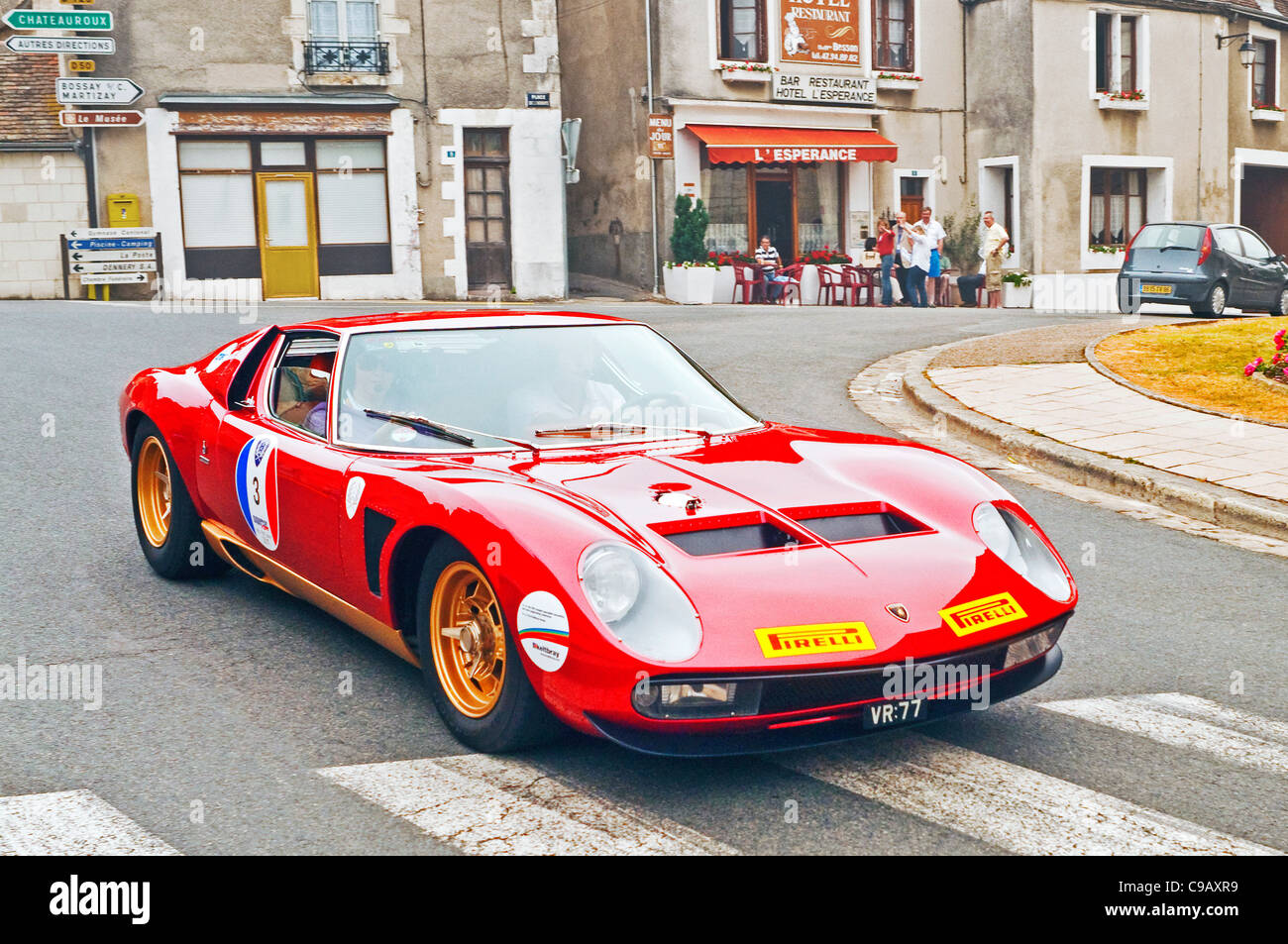 Italian Red Lamborghini Miura Classic Sports Car France Stock