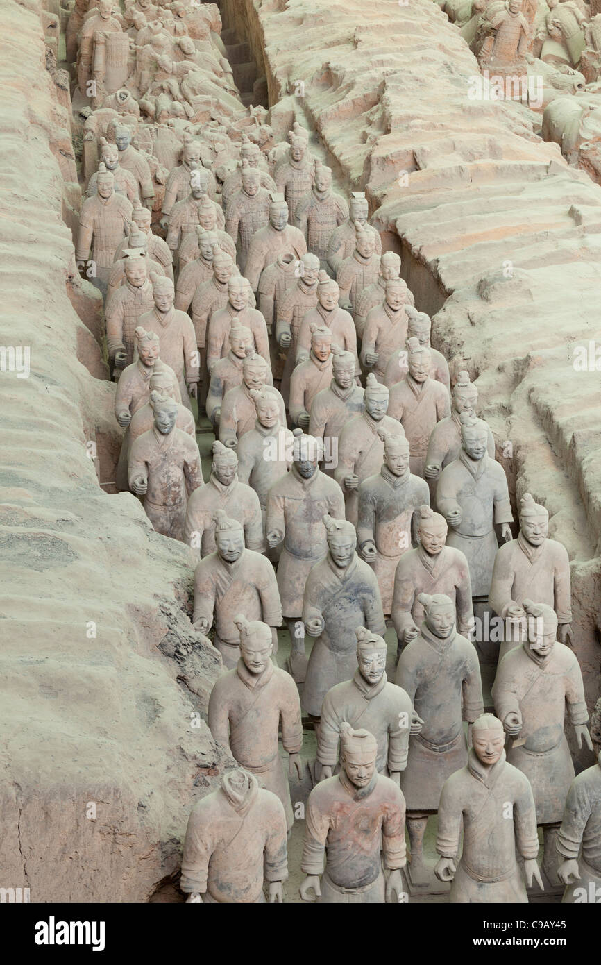 Terracotta Warriors Army Pit Number 1, Xian, Shaanxi Province, PRC, People's Republic of China, Asia - Stock Image