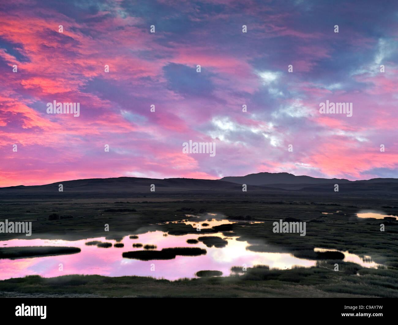 Buena Vista Ponds at Sunrise. Malhuer National Wildlife refuge. Oregon A sky has been added - Stock Image