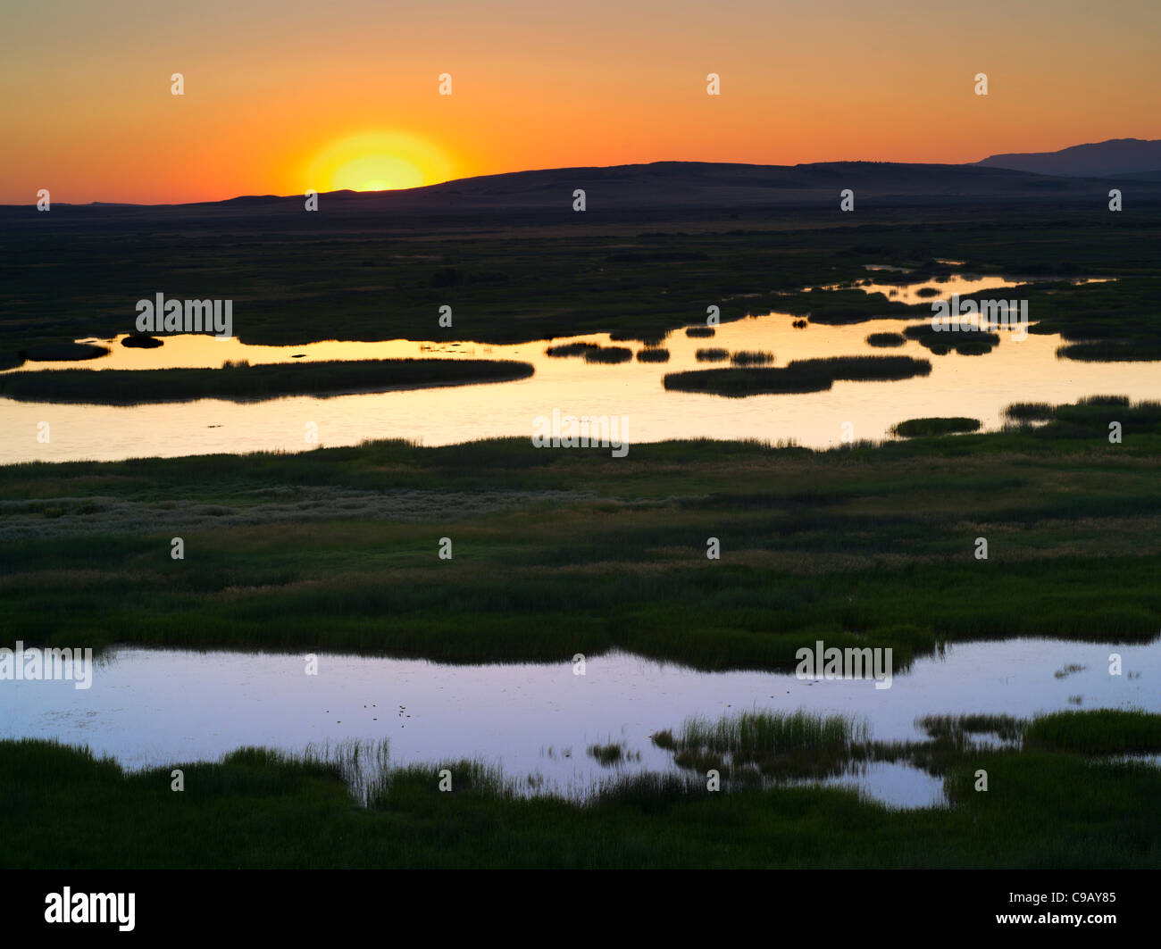 Buena Vista Ponds at Sunrise. Malhuer National Wildlife refuge. Oregon - Stock Image