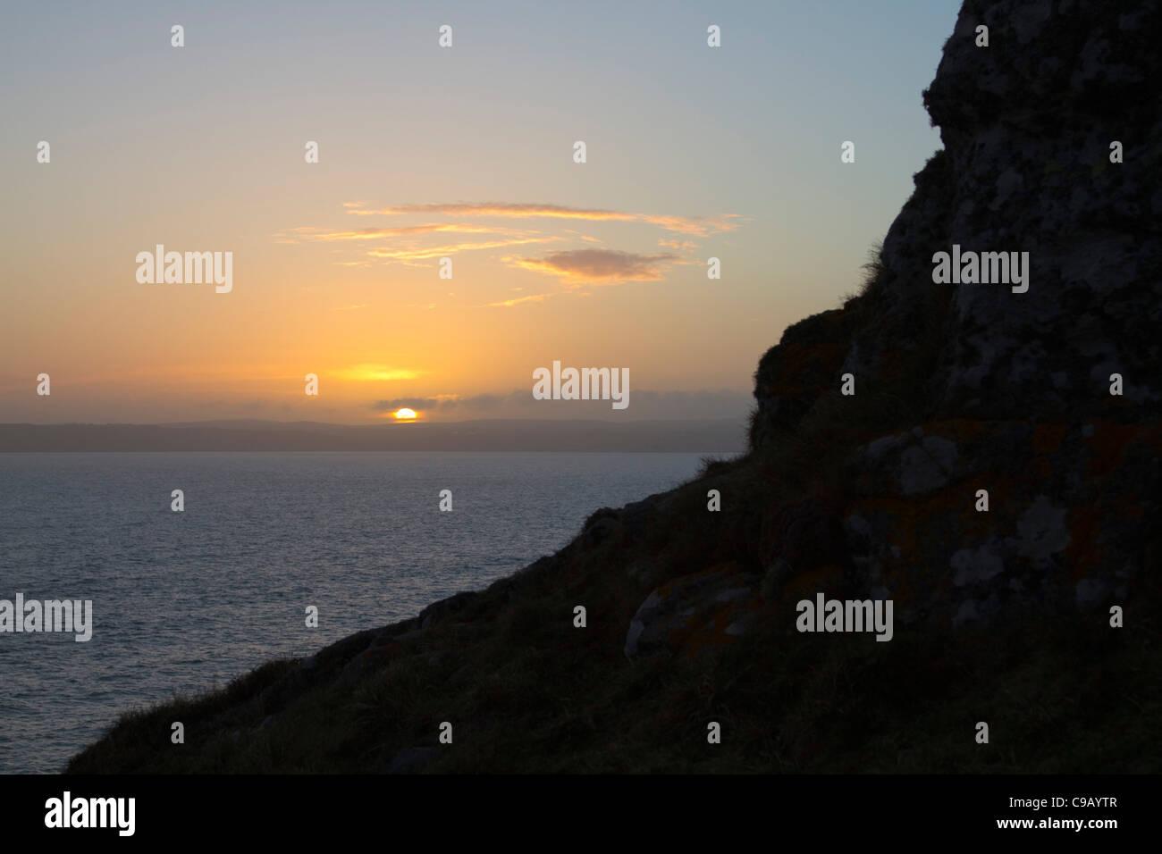 Sunset; Cornwall; minus three stops exposure compensation; Mount's Bay - Stock Image