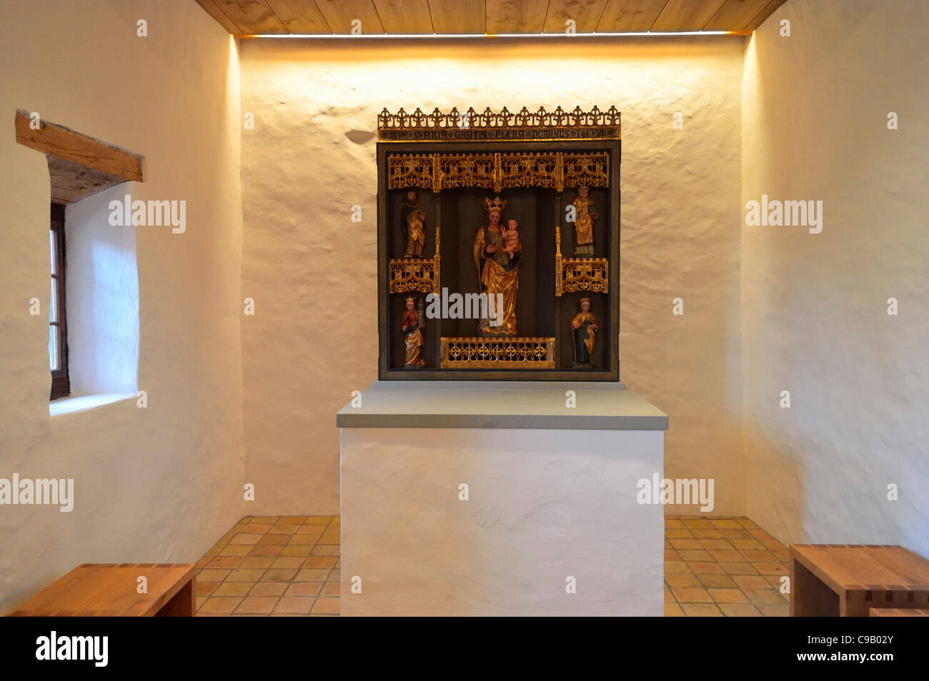 The altar of Castle Gutenberg, Balzers, Principality Liechtenstein FL Stock Photo