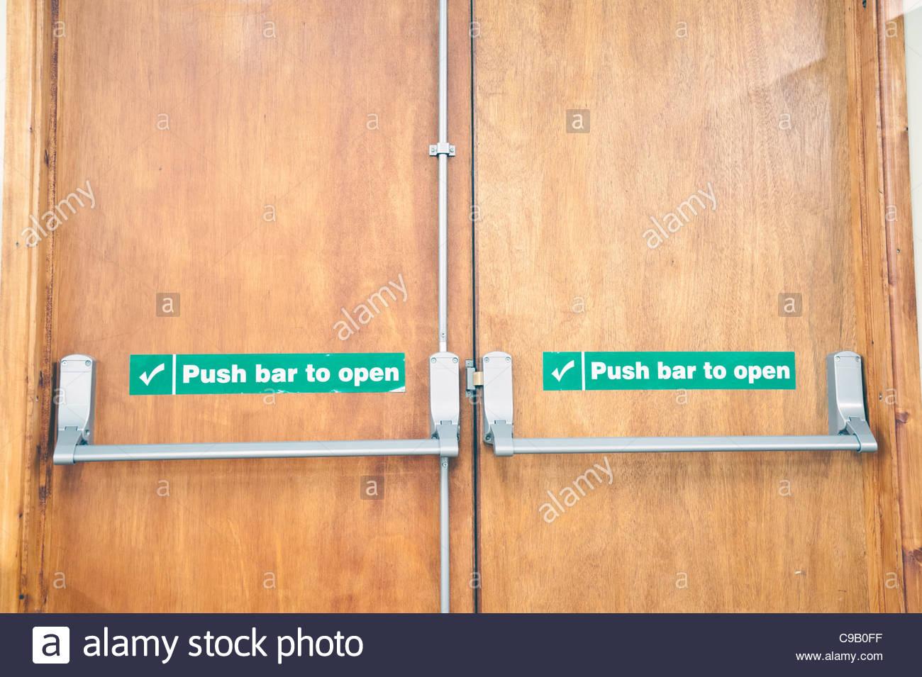 Fire Exit Door Push Bar To Open Uk Stock Photo 40194547