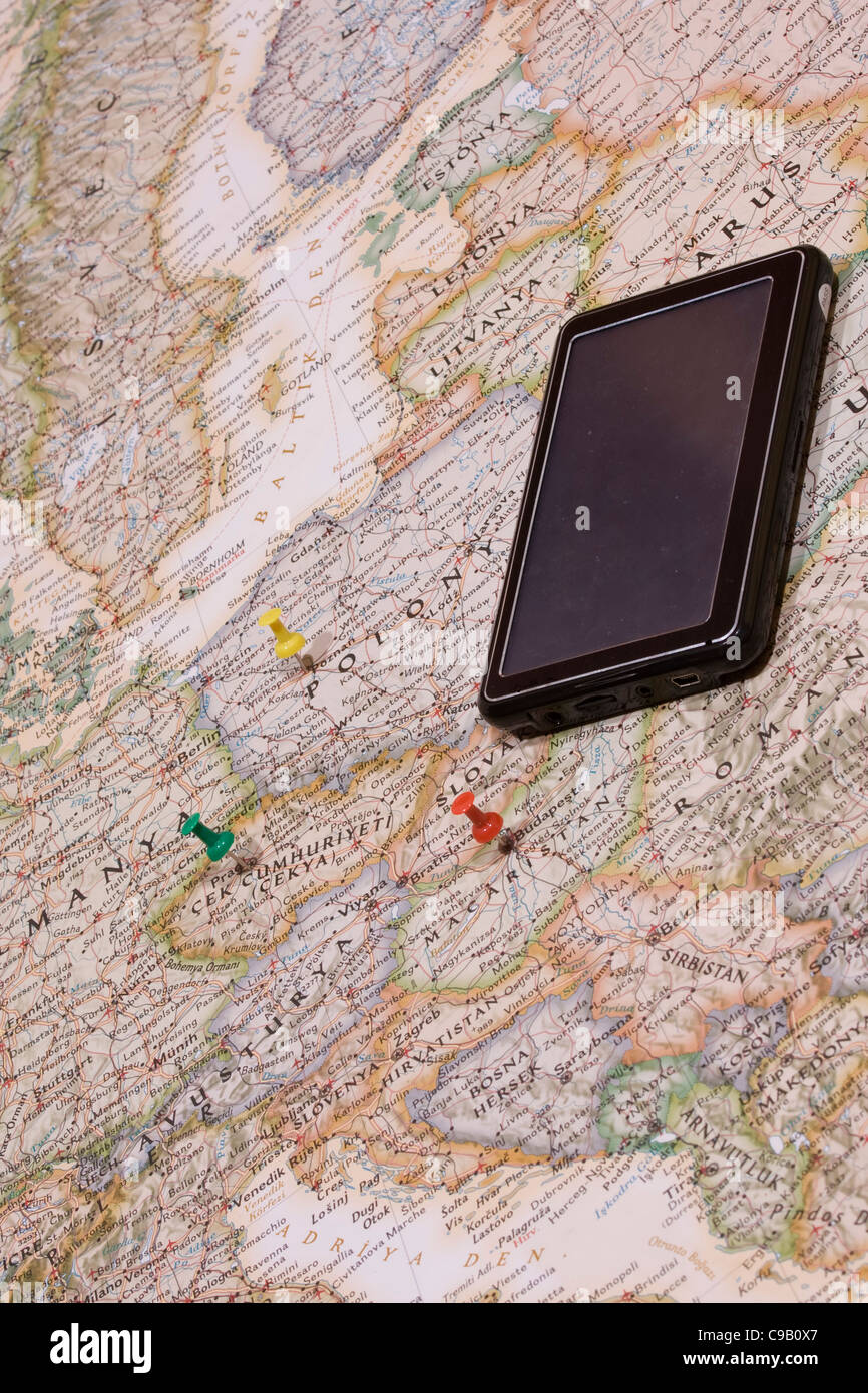 pins showing the location of a destination point on a map - Stock Image