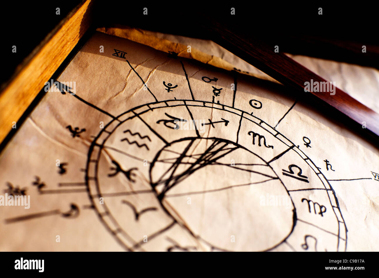 Traditional horoscope, used to predict the future - Stock Image