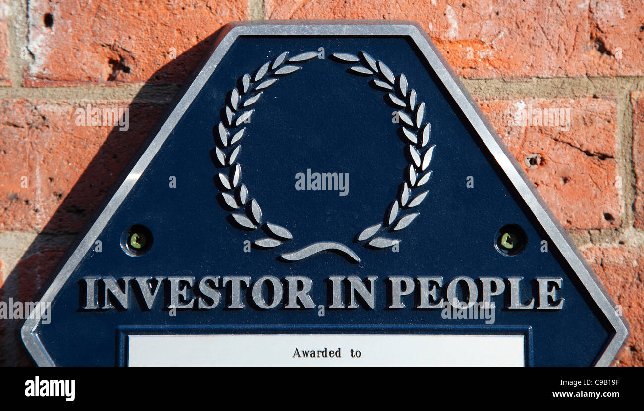 An Investor In People plaque on business premises in Nottingham, England, U.K. - Stock Image