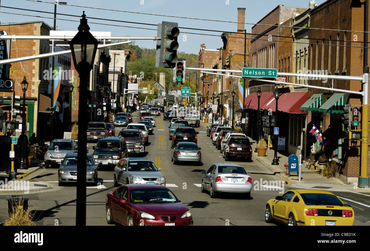 Busy downtown street in Stillwater, Minnesota, a town known for its bookstores, art galleries and antique stores. - Stock Image