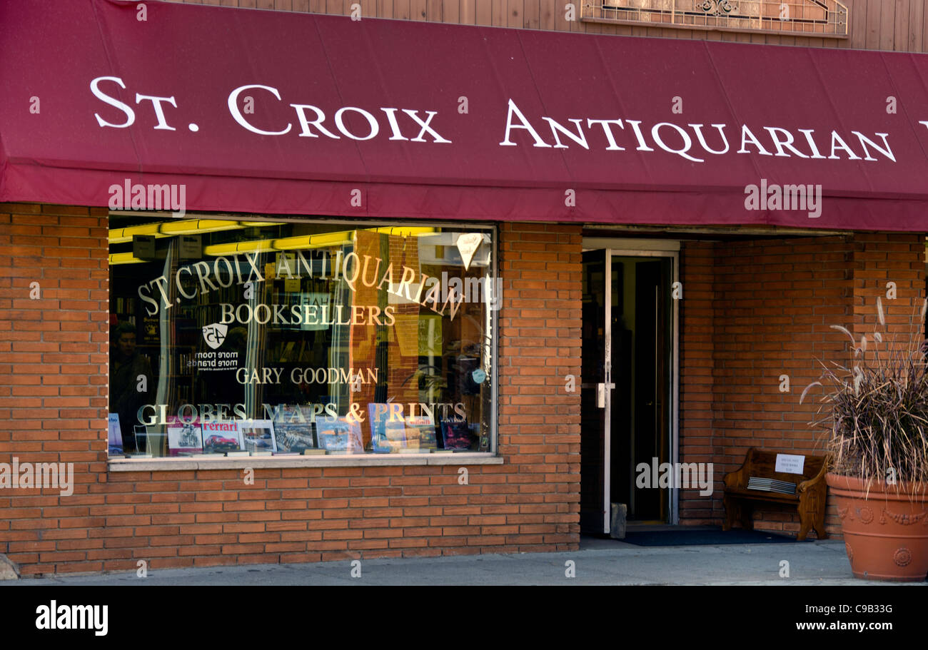 St. Croix Antiquarian Booksellers in Stillwater, Minnesota, a town known for its bookstores, art galleries and antique - Stock Image
