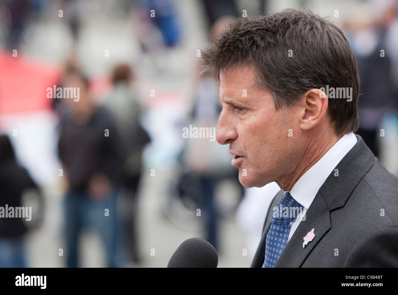Lord Sebastian Coe giving interview on International Paralympic Day in Trafalgar Square, London - Stock Image