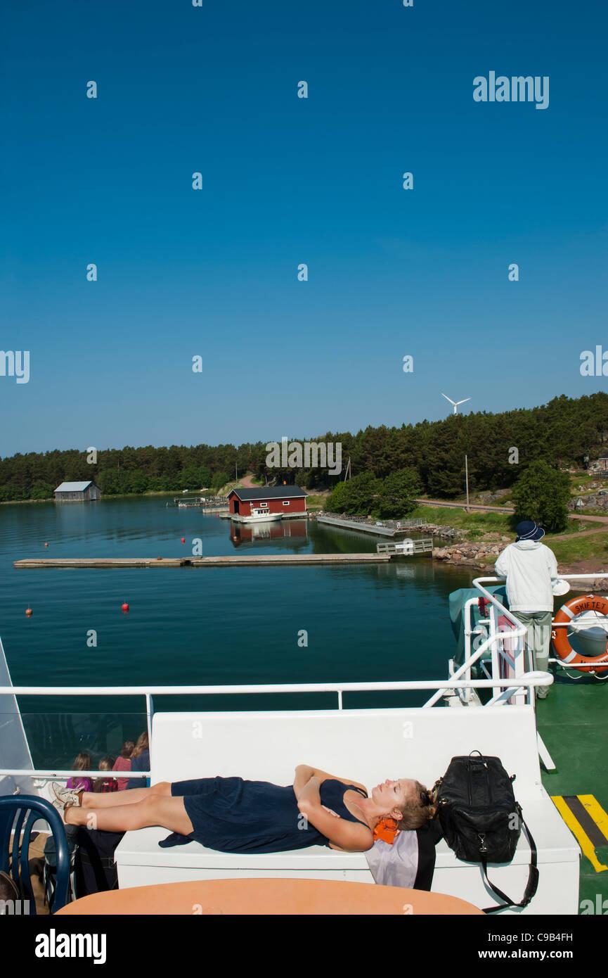 Passengers on board the southern line (Södra linjen) Ålandstrafiken ferry route. Åland Islands Finland - Stock Image