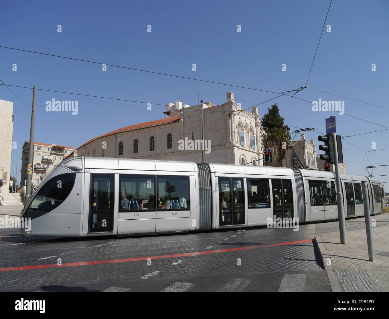 Jerusalem Commuter train on Jaffa Road near Old City - Stock Image