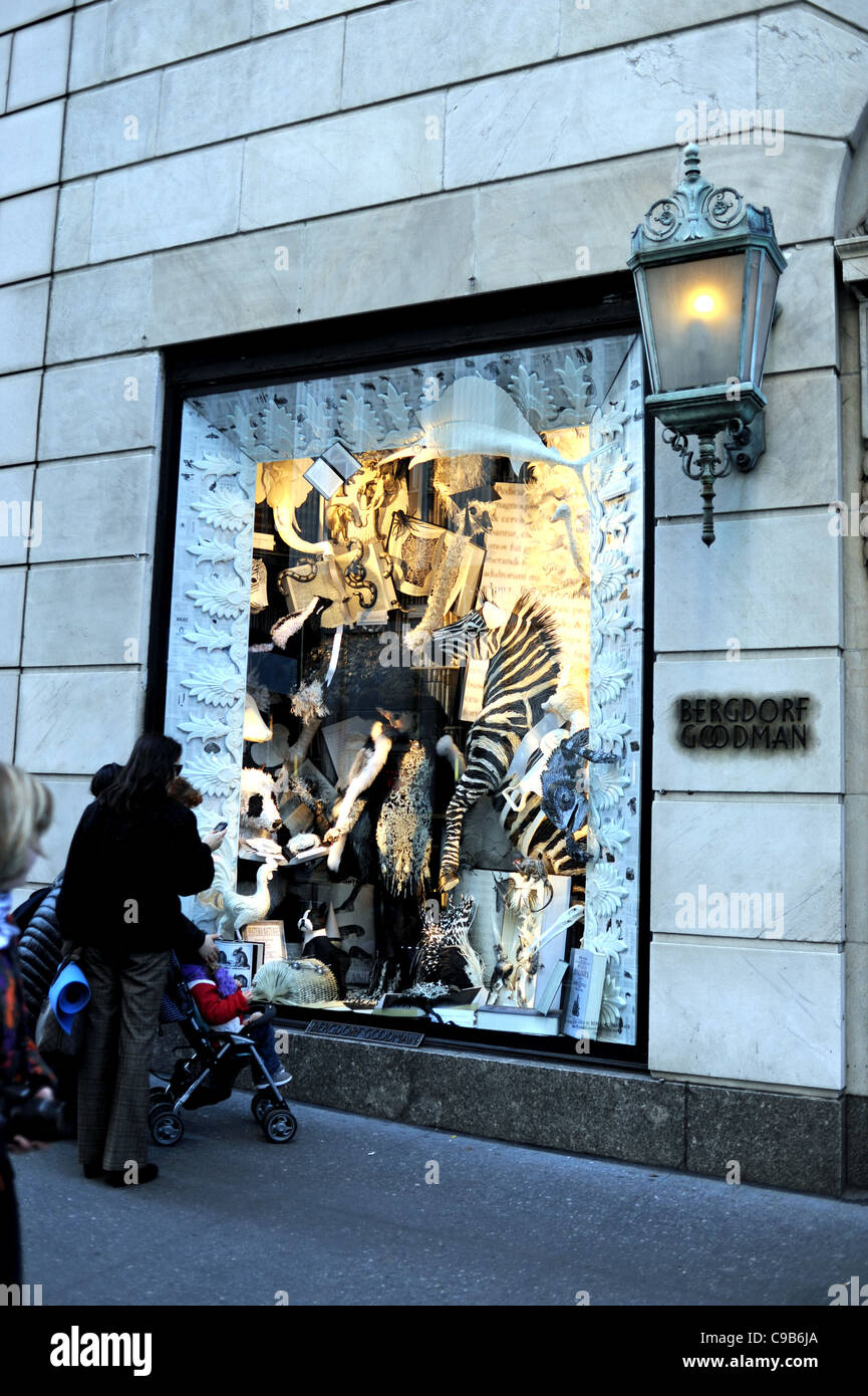 Christmas window at Bergdorf Goodman department store in 5th Avenue ...