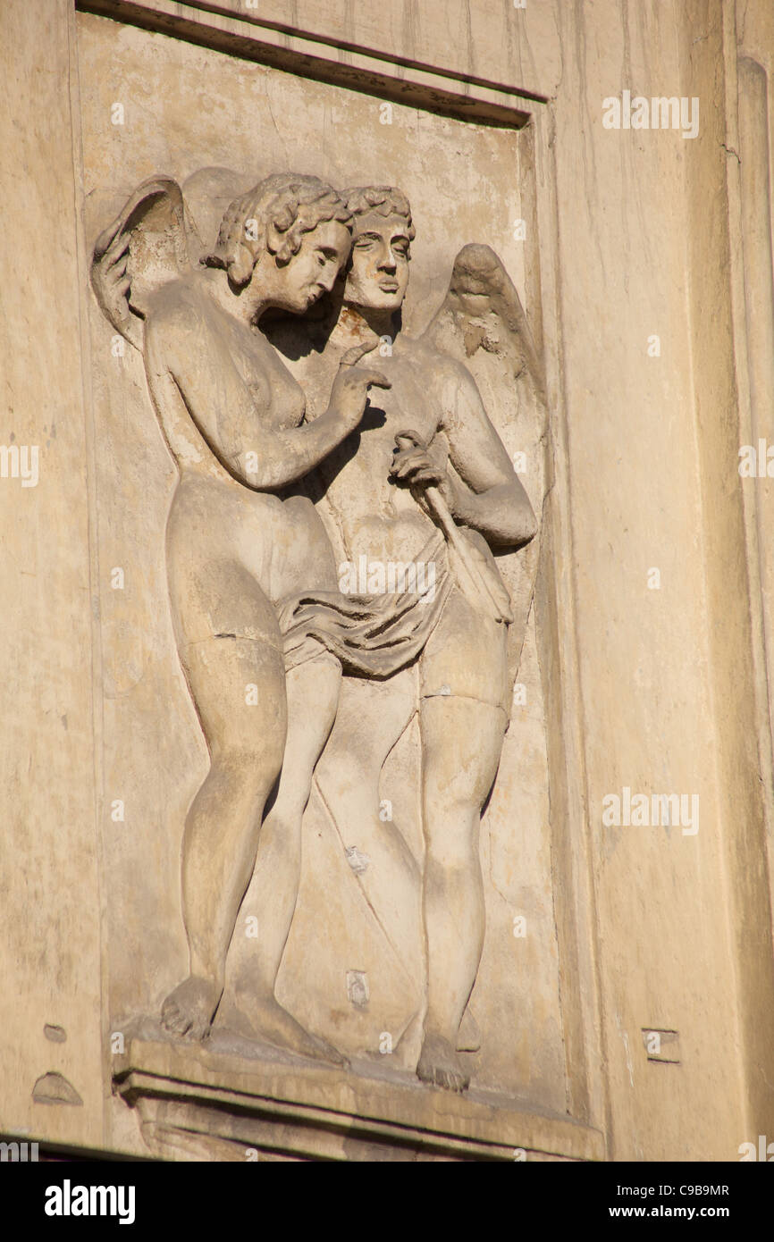 Carved Adornment on Building, L'viv, Ukraine - Stock Image