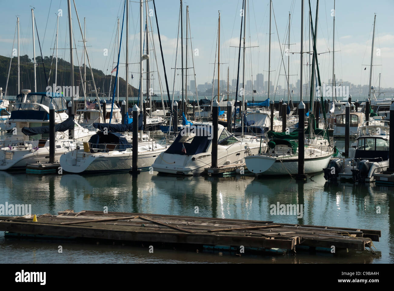 Yacht and boats in marina of Sausalito, USA Stock Photo