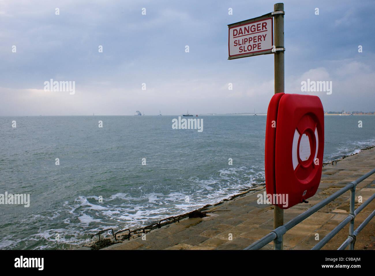 Danger slippery slope, Southsea, Portsmouth - Stock Image