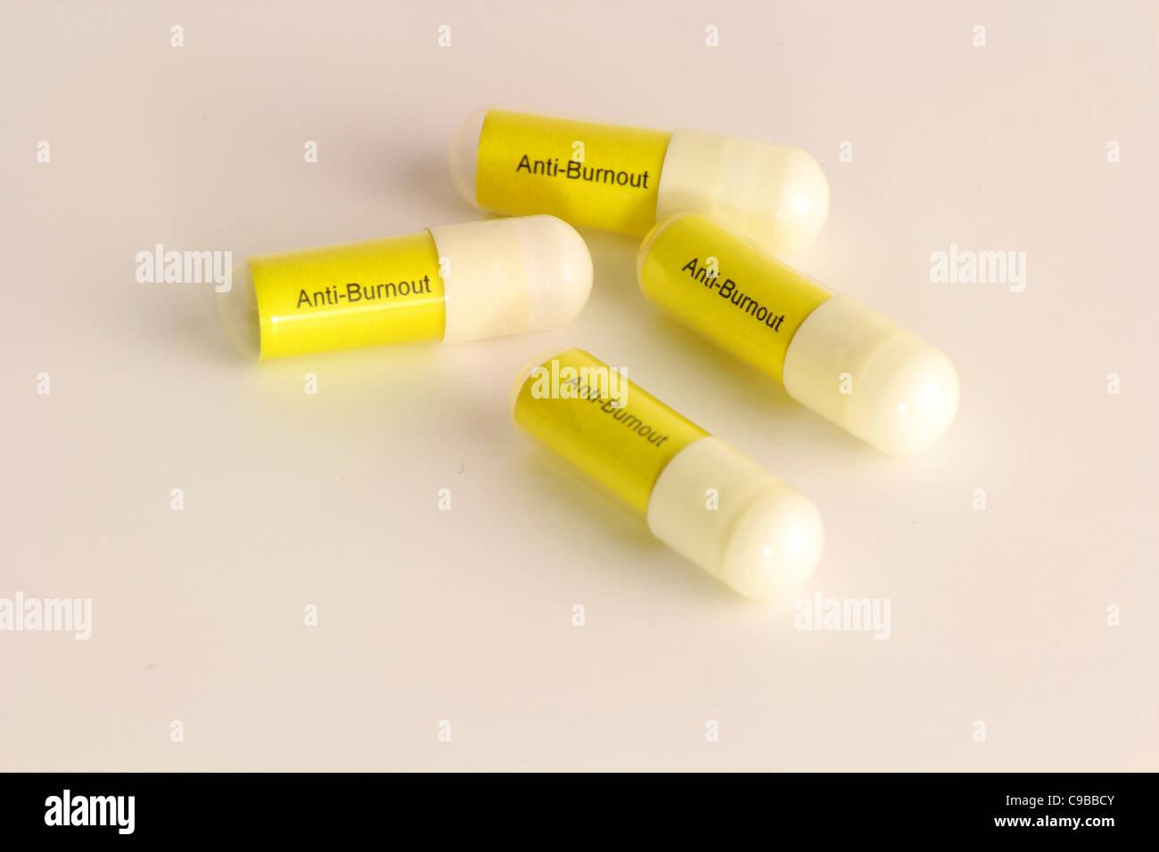 Pills Against Burnout - Stock Image