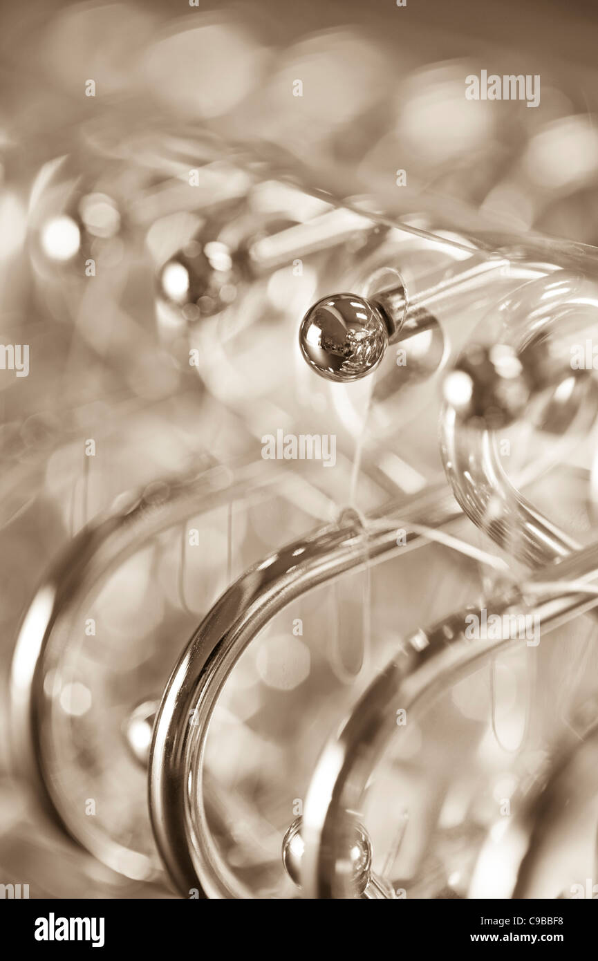 Metal Shower Curtain Rings Close Up View Abstract Stock
