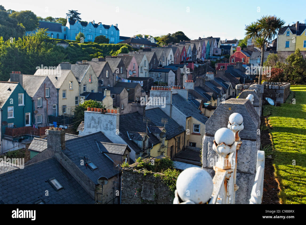 High Angle View of Colorful Row Houses in Cobh, County Cork, Munster, Republic of Ireland - Stock Image