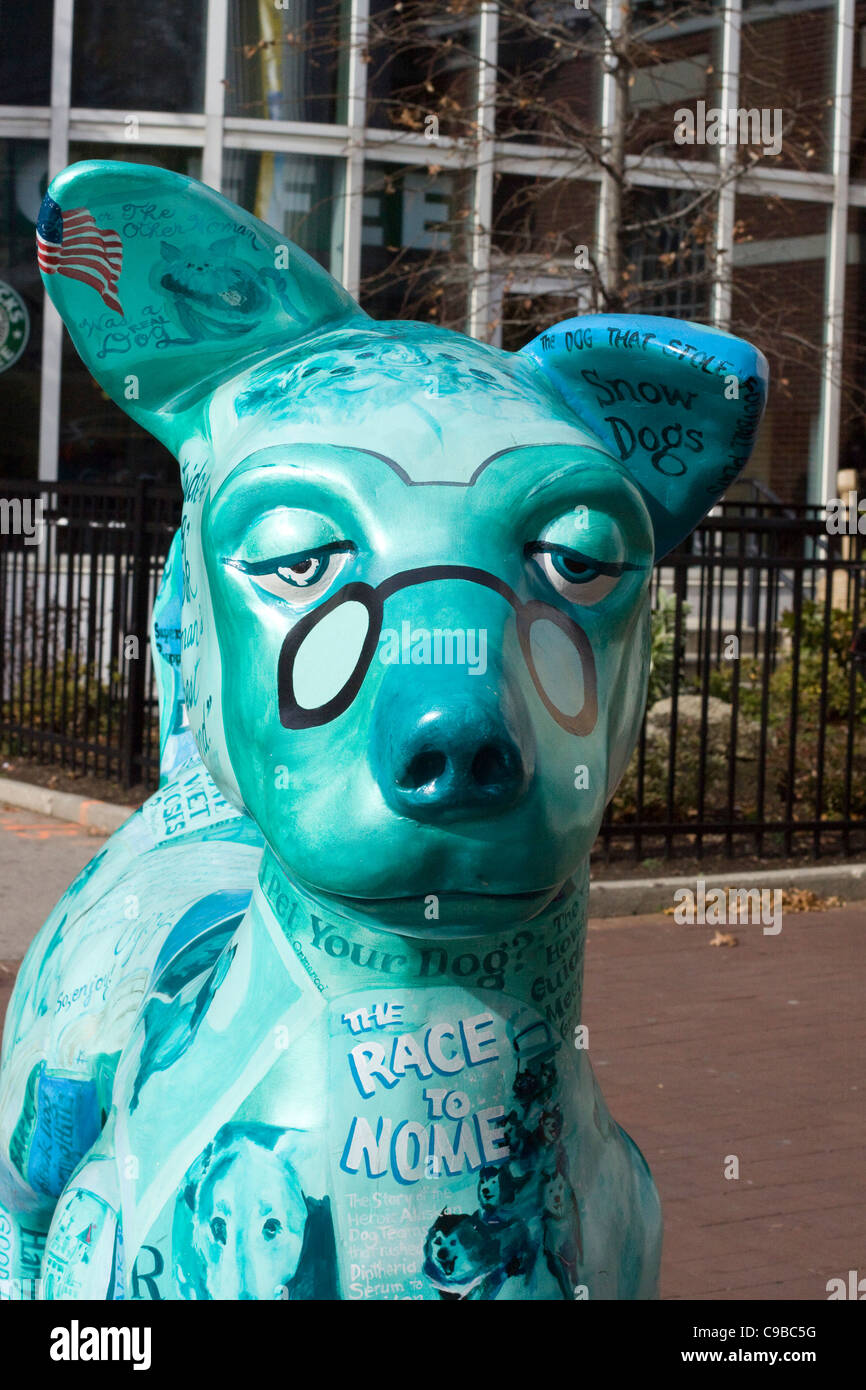 Statue Of A Dog Advertising Rescue Dogs In New England Usa Stock