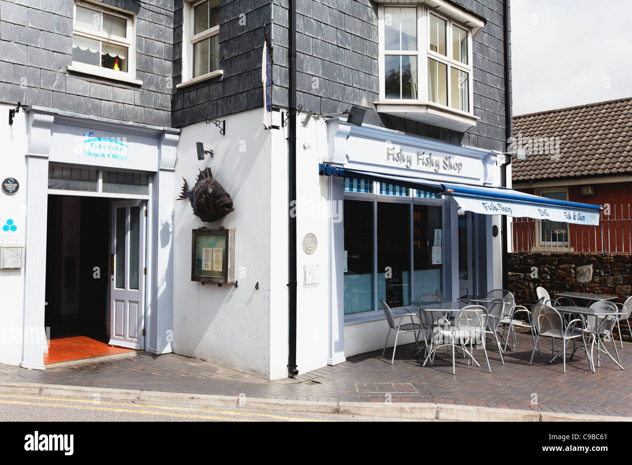 Exterior View of the Fishy Fishy Shop Seafood Bistro, Kinsale County Cork, Republic of Ireland - Stock Image