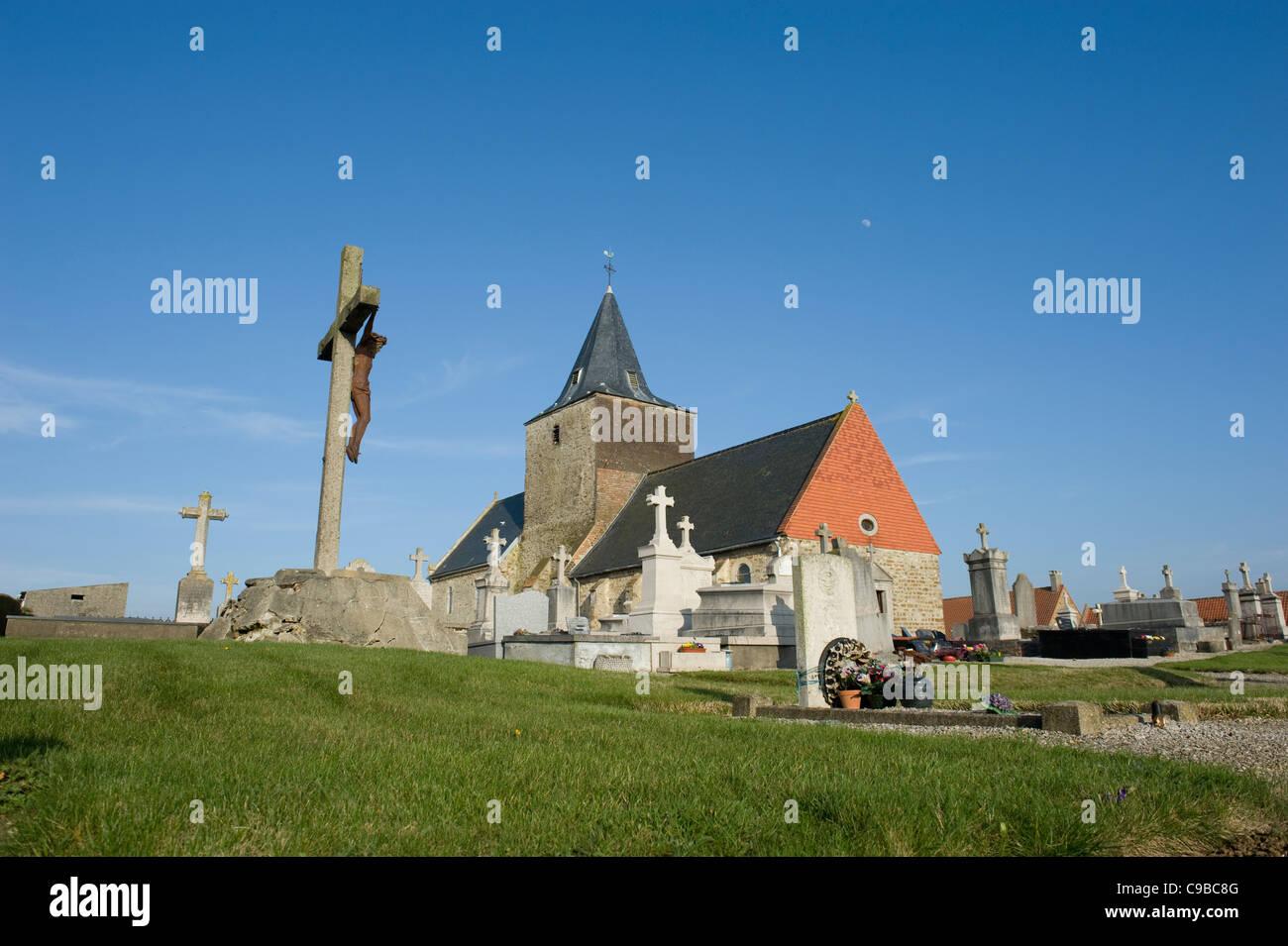 Church of St-Eloi in Bazinghen near Calais at the Côte Opale in Pas-de-Calais, Northern France, - Stock Image