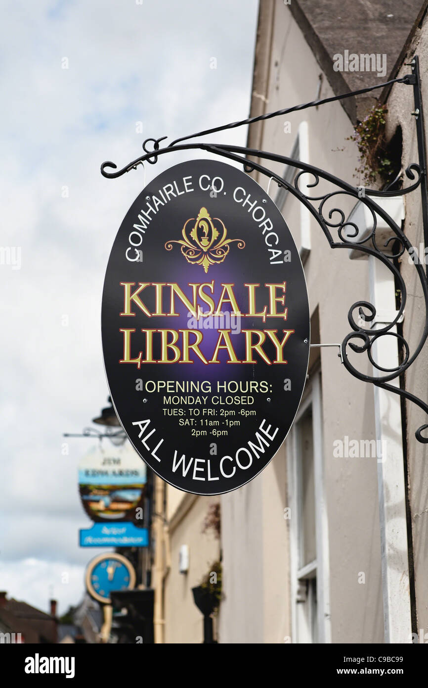 Library Sign in Kinsale, County Cork, Republic of Ireland - Stock Image