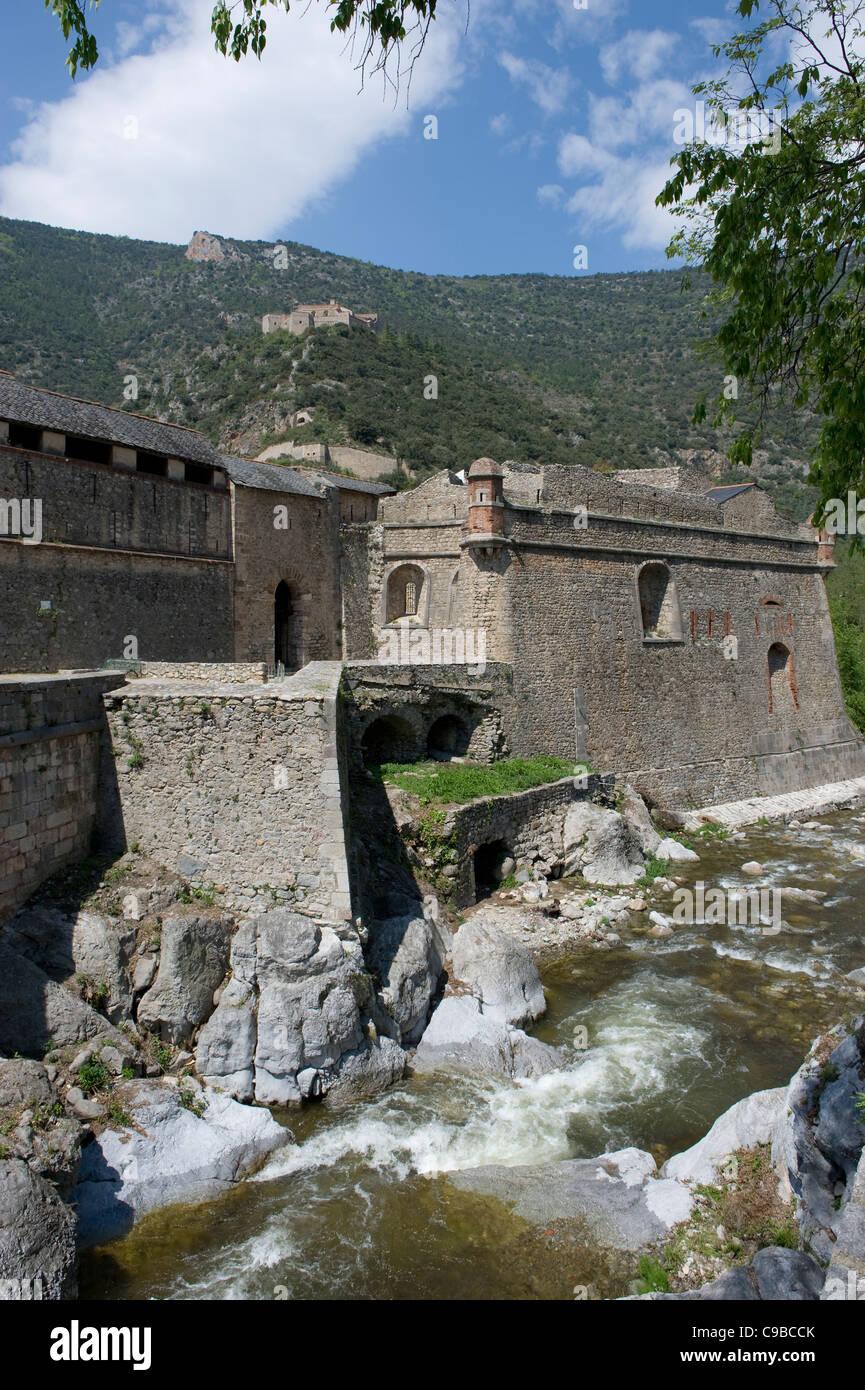 Fort Libéria by Vauban above the Pyrénées town of Villefranche-de-Conflent, a UNESCO world heritage - Stock Image