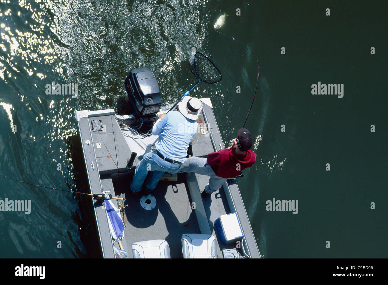High Angle View of Fishermen Catching a Shad from the Delaware River, Lambertville, New Jersey - Stock Image
