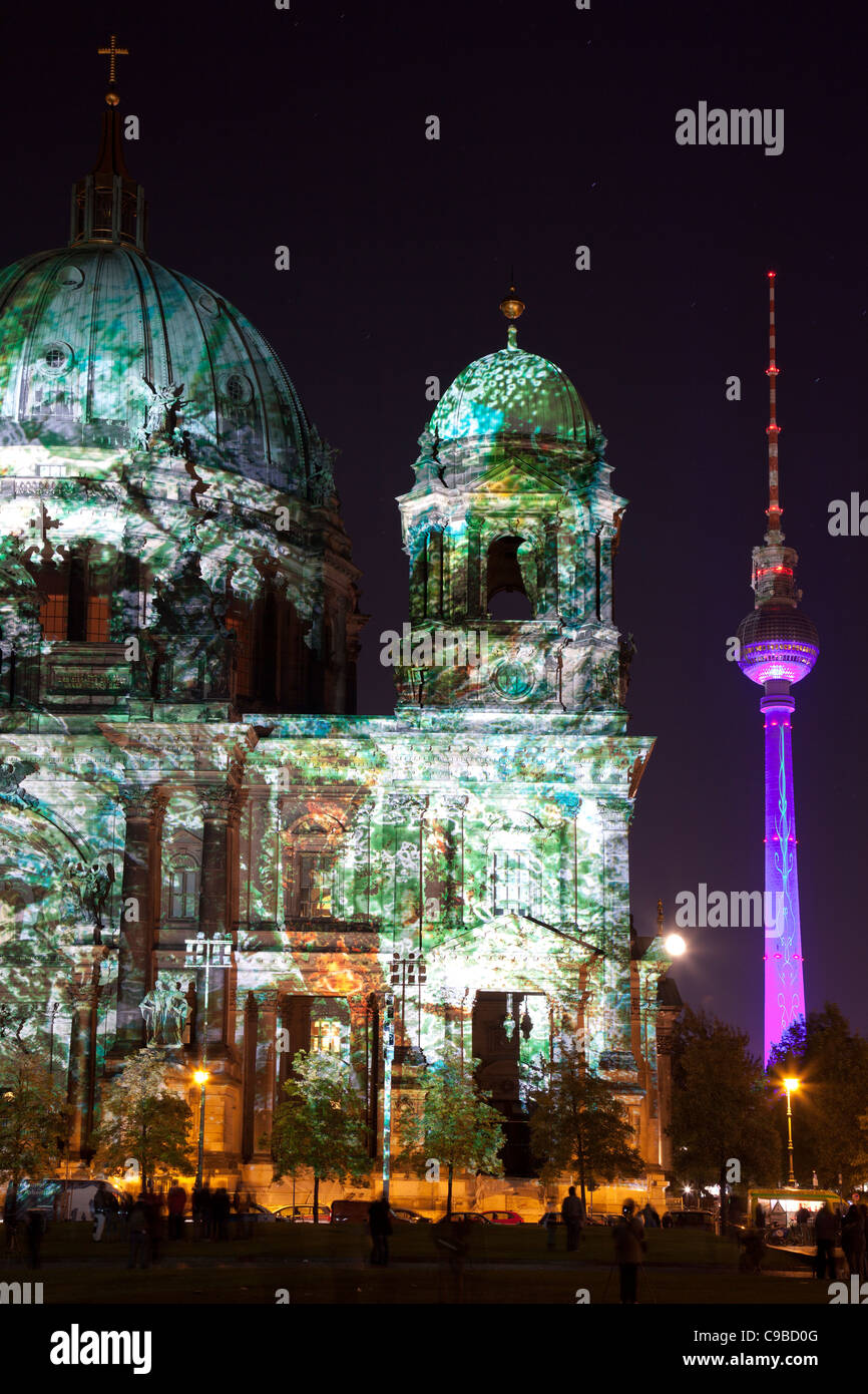 Berliner Dom during festival of lights 2011, Berlin, Germany - Stock Image