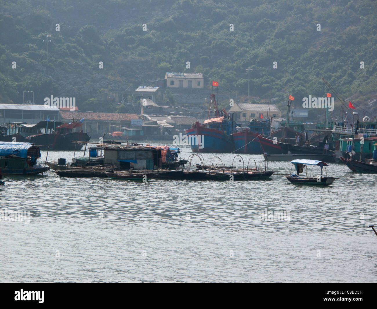 Fishing boats at Halong Bay on the South China Sea, Vietnam - Stock Image