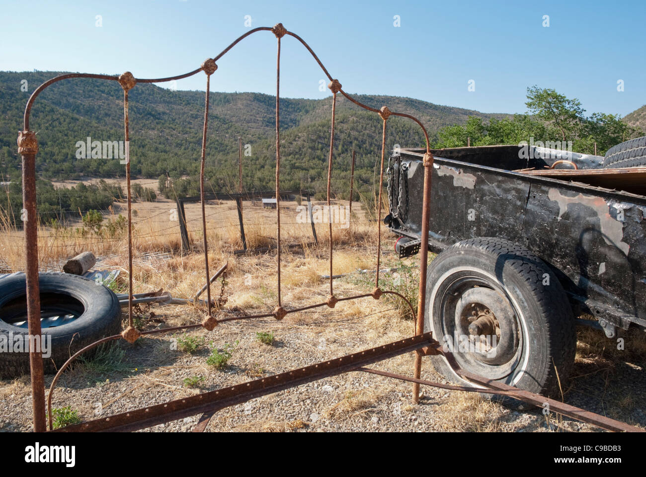 Roadside junk adds local flavor along Route 70 in the Hondo Valley in southern New Mexico. - Stock Image