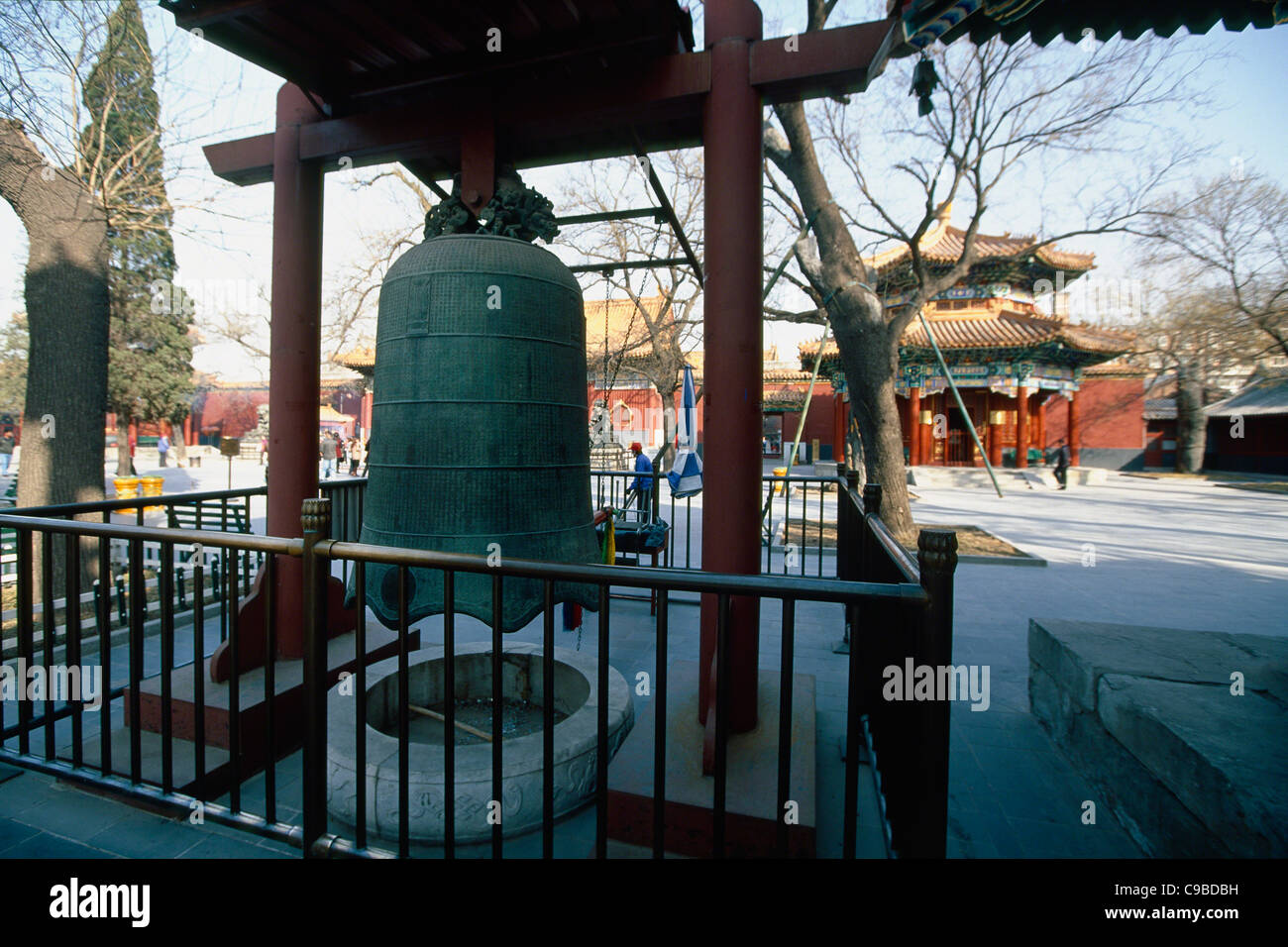 Ceremonial Bell in a Courtyard, Lama Temple, Beijing China - Stock Image