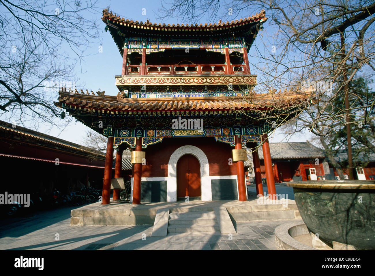 Low Angle View of a Drum Tower, Lama Temple Yonghe Lamasery), Beijing China - Stock Image
